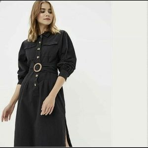 Free People Audrey Midi Belted Shirtdress Button